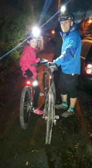 Rachael's first night ride - Loving the Islabikes Pro Series Crieg 26. We even got chased by a dog